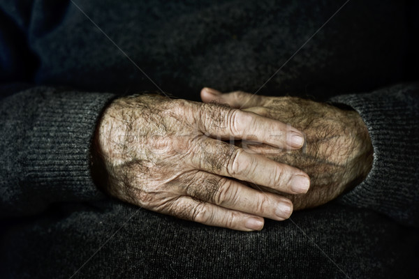 hands of an old caucasian man Stock photo © nito