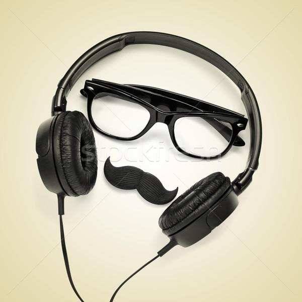 Adam çift gözlük bıyık kulaklık Stok fotoğraf © nito