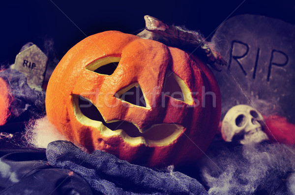 jack-o-lantern, skulls and gravestones Stock photo © nito