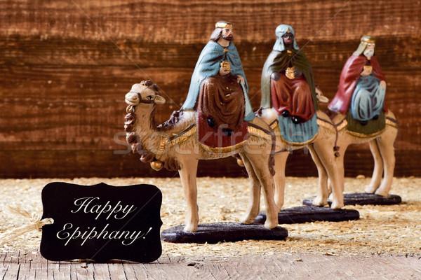 Três reis texto feliz preto etiqueta camelos Foto stock © nito