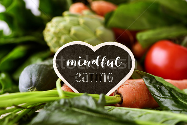 raw vegetables and text mindful eating Stock photo © nito