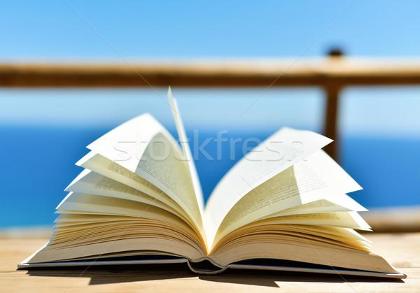 Offenes Buch Ozean Holztisch Freien Meer Stock foto © nito