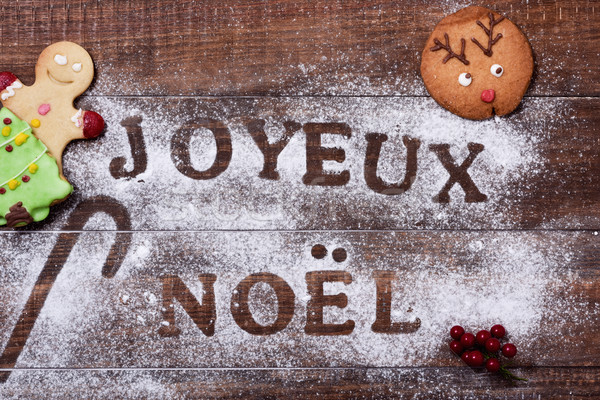 Stock photo: text joyeux noel, merry christmas in french