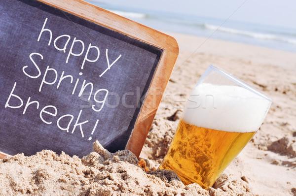 Szöveg boldog tavaszi szünet tábla közelkép írott Stock fotó © nito