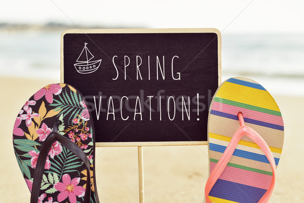 text spring vacation in a signboard Stock photo © nito