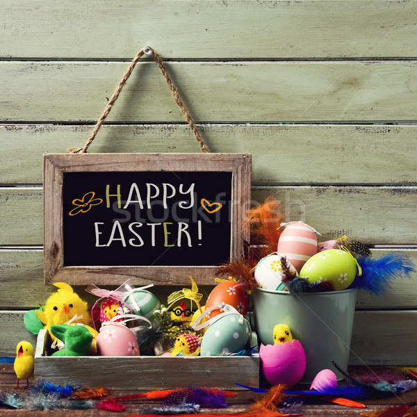 decorated easter eggs and text happy easter Stock photo © nito