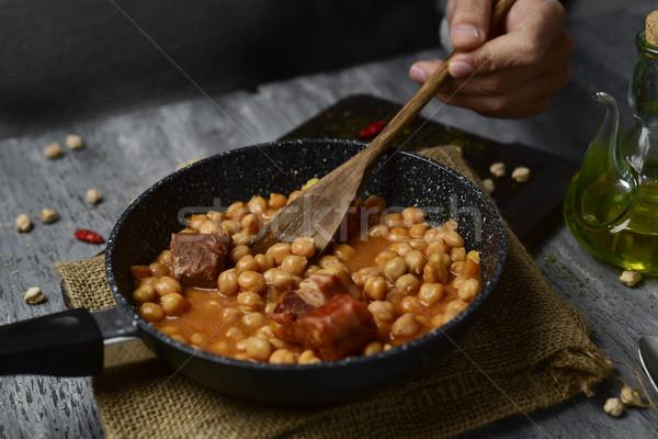Spaans stoven koekenpan chorizo serrano ham Stockfoto © nito