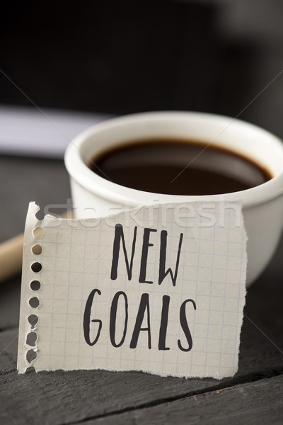 text new goals in a piece of paper Stock photo © nito