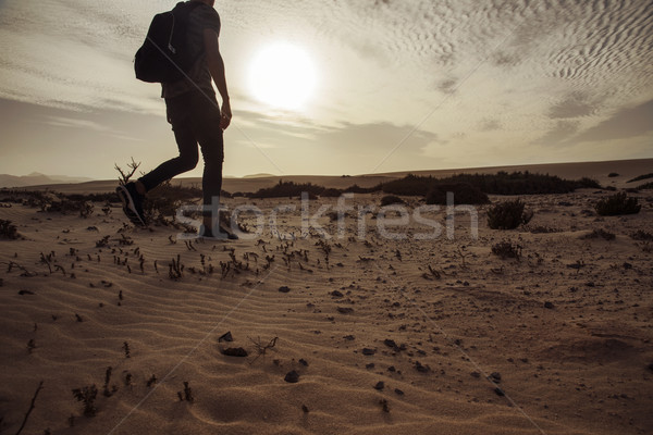 man with a backpack walking in the desert Stock photo © nito