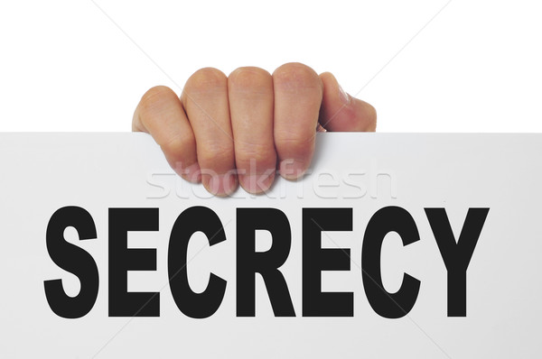 Titkolózás férfi kéz tart szöveg írott Stock fotó © nito