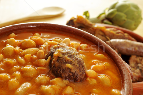 potaje de judias y garbanzos, a traditional spanish legume stew Stock photo © nito