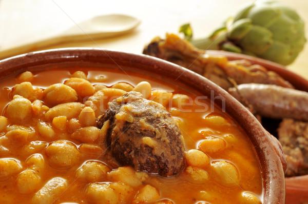 Geleneksel İspanyolca güveç çanak gıda ev Stok fotoğraf © nito