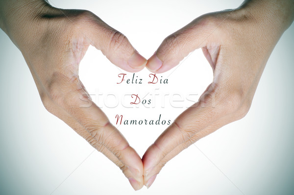 text Feliz Dia Dos Namorados, in portuguese, for the holiday for Stock photo © nito