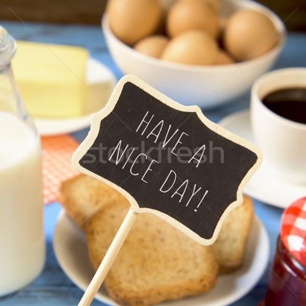 Melk koffie tekst mooie dag schoolbord Stockfoto © nito