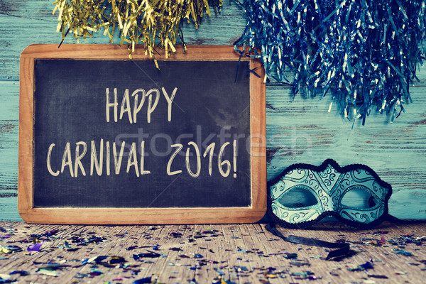 blue mask and text happy carnival 2016 Stock photo © nito