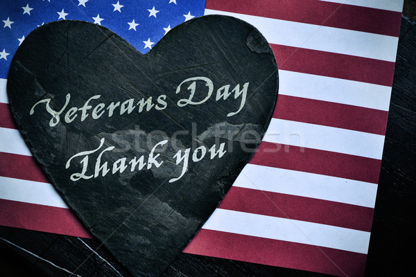 text veterans day, thank you and the flag of the US Stock photo © nito