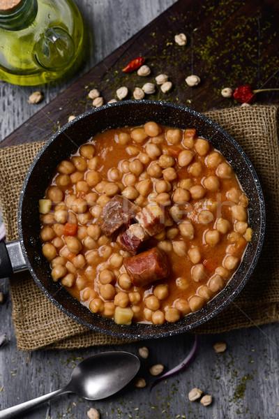 garbanzos a la riojana, a spanish chickpeas stew Stock photo © nito