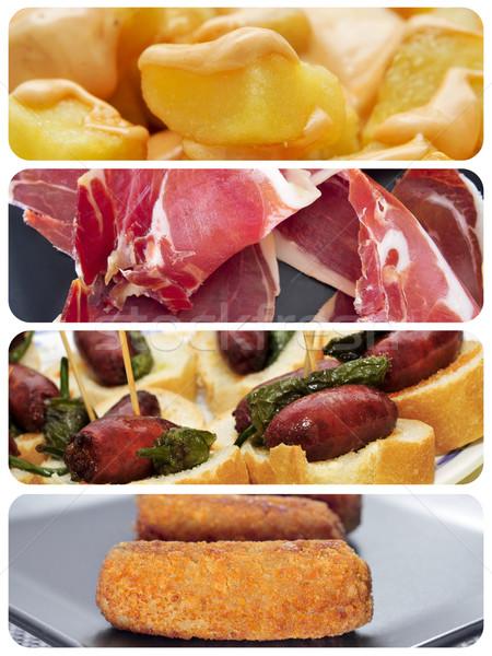Spanyol tapas kollázs különböző chorizo serrano Stock fotó © nito
