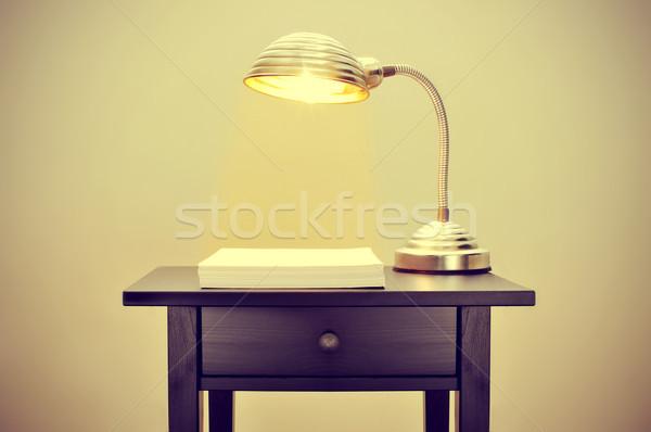 gooseneck lamp and blank paper sheets Stock photo © nito