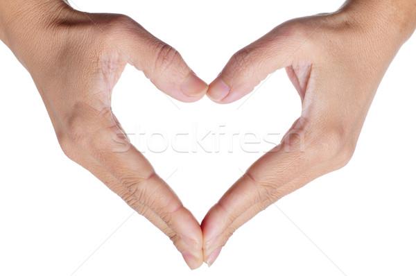 Nő kezek szív fehér lány háttér Stock fotó © nito