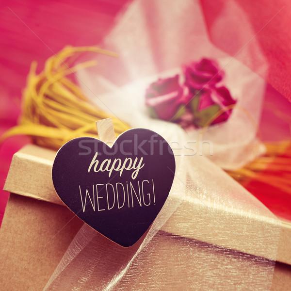 текста счастливым свадьба шкатулке цветы Сток-фото © nito