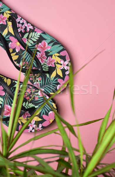 flower-patterned flip-flops Stock photo © nito