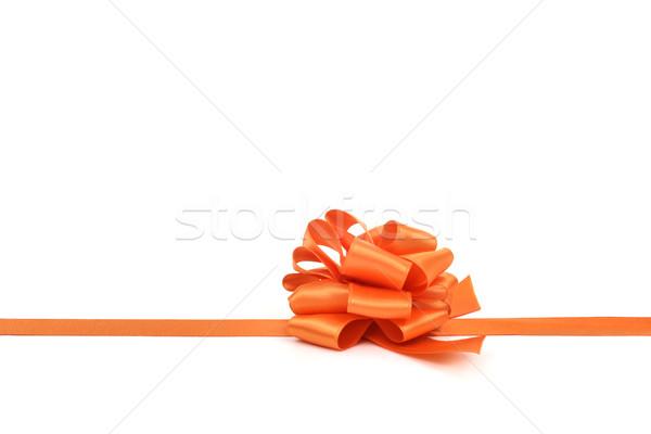 Stock photo: orange gift ribbon bow