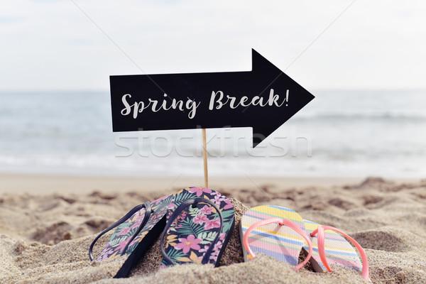 Szöveg tavaszi szünet tengerpart közelkép fekete forma Stock fotó © nito