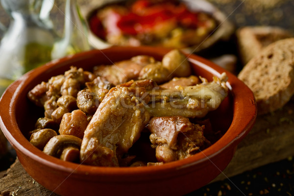 spanish roasted chicken and rabbit Stock photo © nito