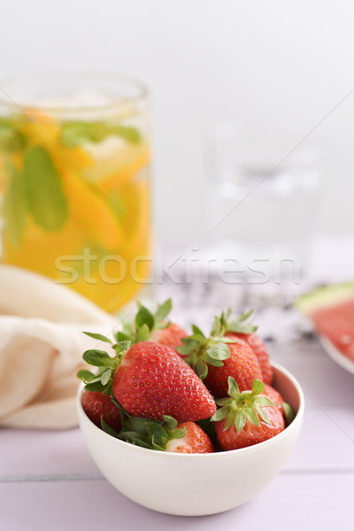 strawberries and cold tea Stock photo © nito