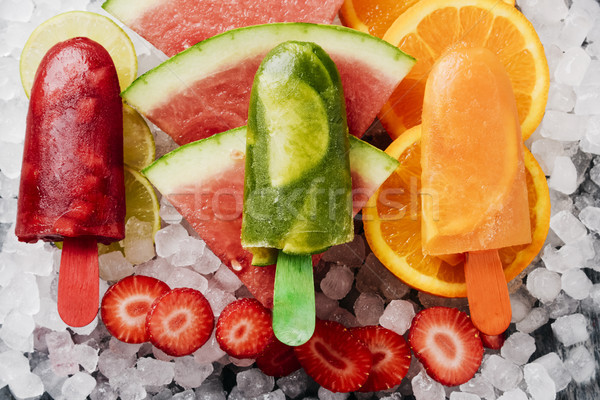 homemade natural ice pops on crushed ice Stock photo © nito
