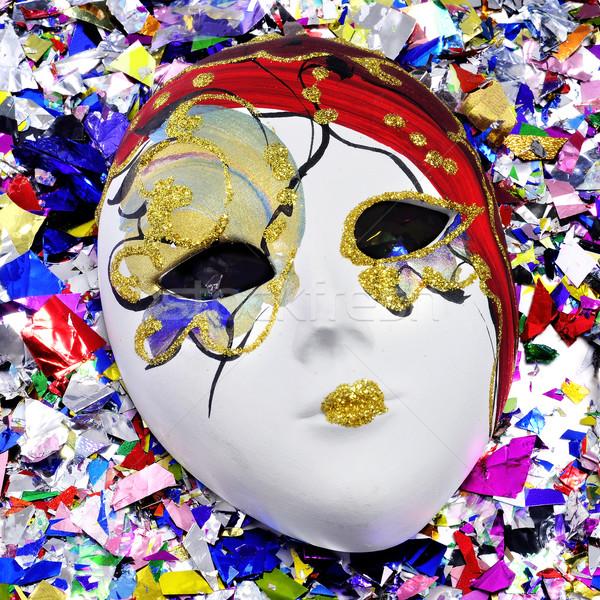 Stockfoto: Masker · confetti · kleurrijk · venetiaans · masker · metalen