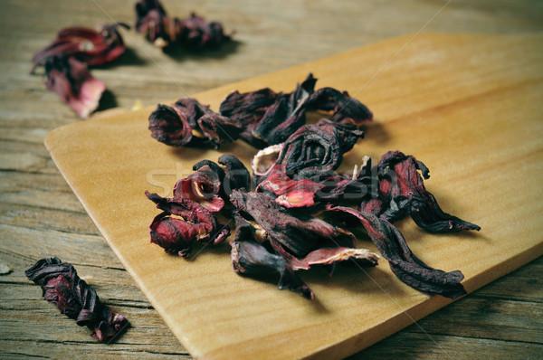 Kurutulmuş ebegümeci çiçekler rustik ahşap masa Stok fotoğraf © nito