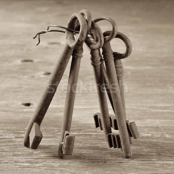 old and rusty keys, in sepia tone Stock photo © nito
