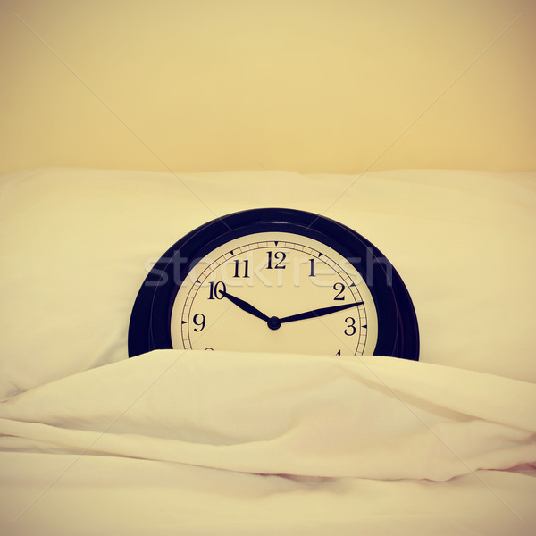 clock in bed, with a retro effect Stock photo © nito