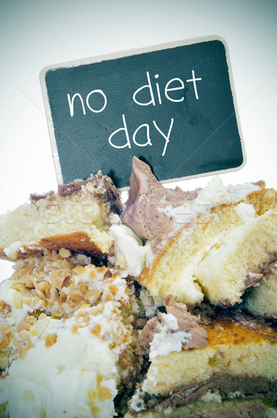 pieces of cake and text no diet day on a signboard Stock photo © nito