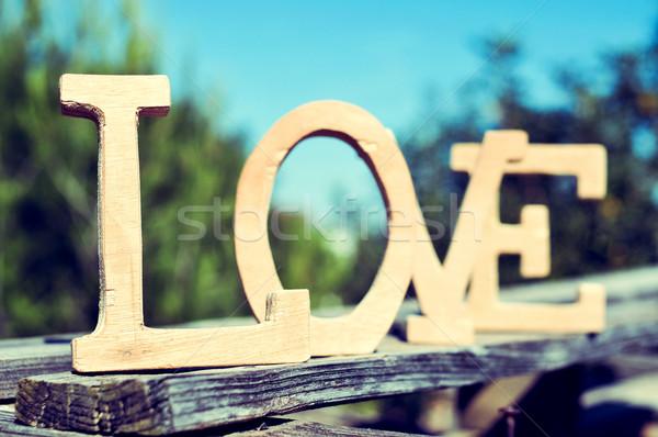 Cartas palavra amor rústico cenário Foto stock © nito