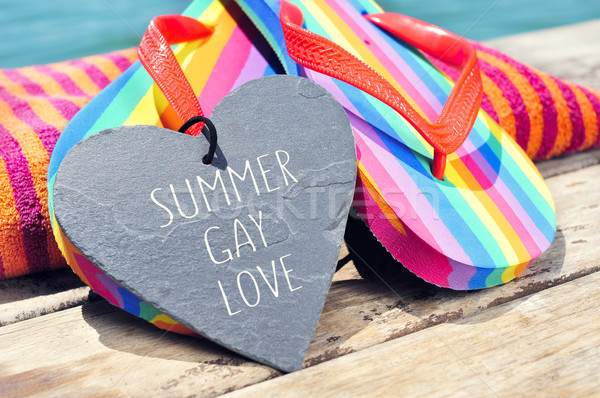 rainbow flip-flops and sentence summer gay love Stock photo © nito