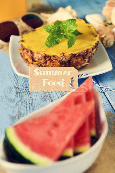 text summer food, starfish, pineapple and watermelon Stock photo © nito