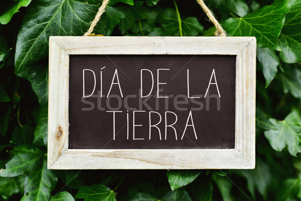 text dia de la tierra, earth day in spanish Stock photo © nito