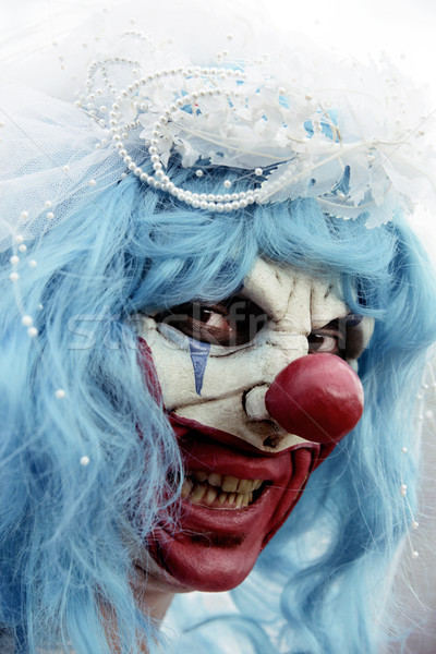 scary evil clown in a bride dress Stock photo © nito