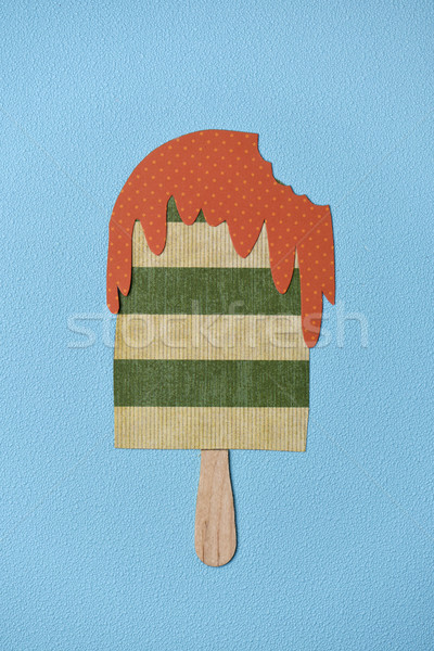 paper ice pop on a blue background Stock photo © nito