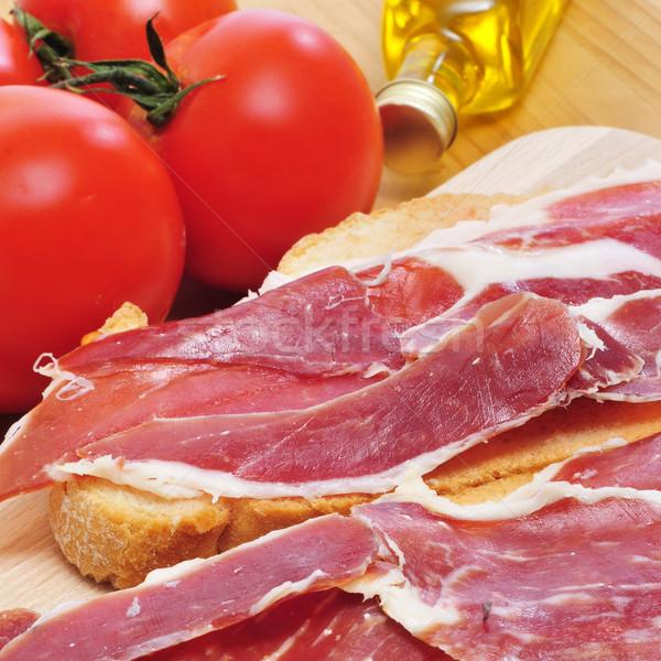 spanish pa amb tomaquet with serrano ham Stock photo © nito