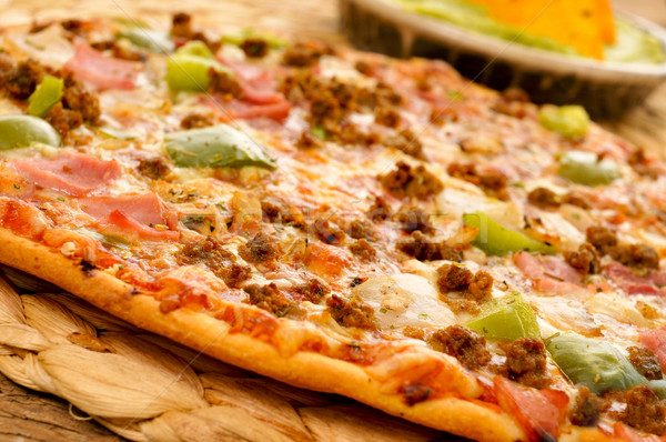 pizza with ground beef, ham, onion and green pepper Stock photo © nito