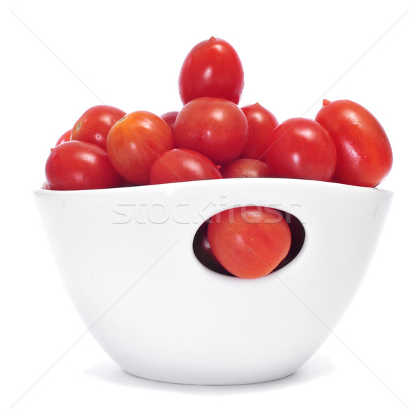 Foto stock: Tomates · cereja · tigela · branco · comida · bebê · saúde