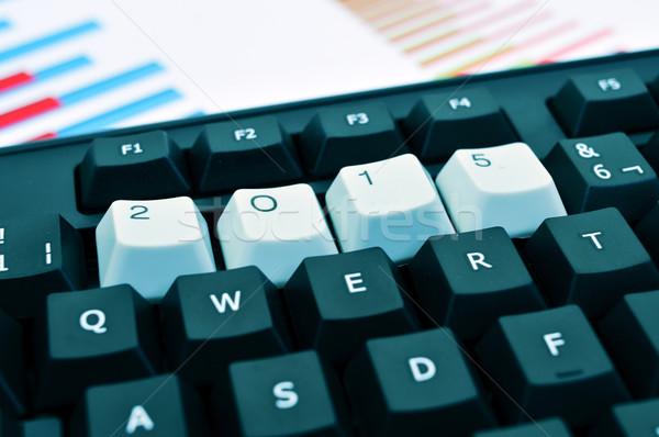 2015 nieuwjaar toetsenbord witte sleutels aantal Stockfoto © nito