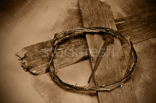 Jesus Christ cross, nail and crown of thorns Stock photo © nito