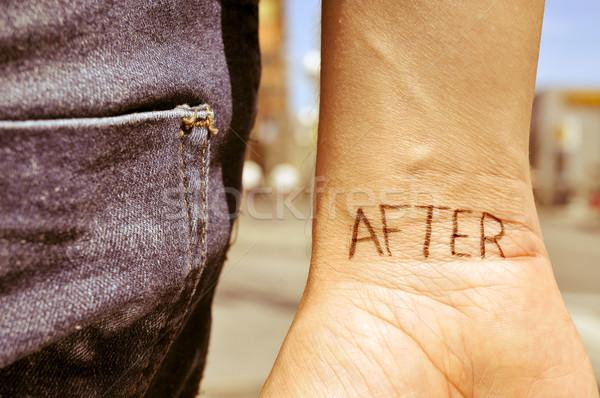 Fiatalember szó tetovált csukló közelkép kar Stock fotó © nito