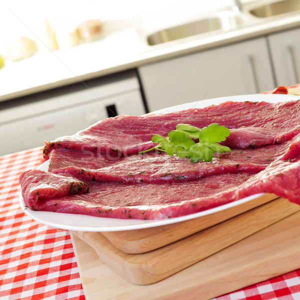 raw marinated beef fillets Stock photo © nito
