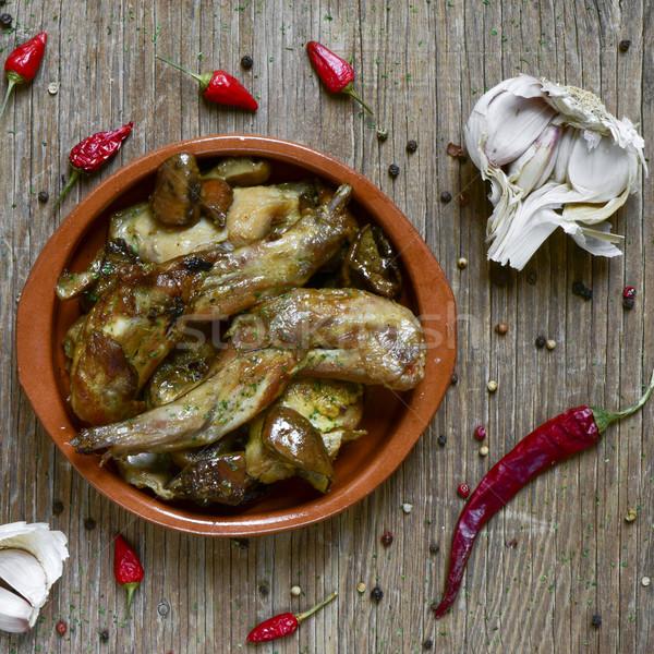 Típico espanol receta conejo tiro ajo Foto stock © nito